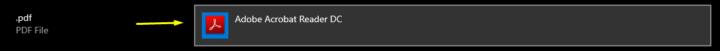 Default App is Adobe Acrobat
